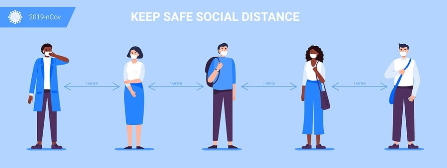 A cartoon image of people social distancing by standing 3 feet apart.